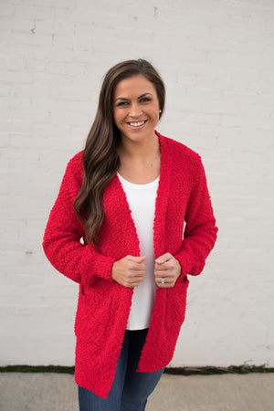Ruby Red Popcorn Pocket Cardigan (SM-3X)
