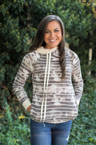 Mocha Acid Wash Stripe Double Hoodie (SM-3X)