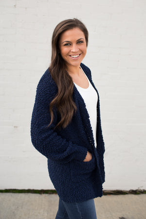 Navy Blue Popcorn Pocket Cardigan (SM-XL)