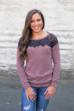 Mauve Black Lace Top Sweater
