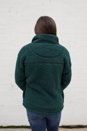 Hunter Green Half Zip Sherpa Pullover (SM-3X)