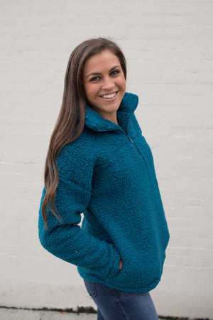 Teal Half Zip Sherpa Pullover (SM-3X)