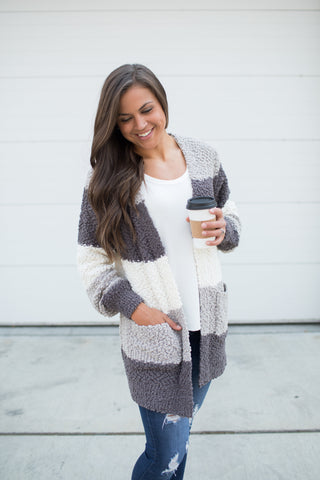 Gray Striped Popcorn Pocket Cardigan