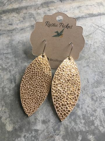 Gold Ray Leather Leaf Earrings