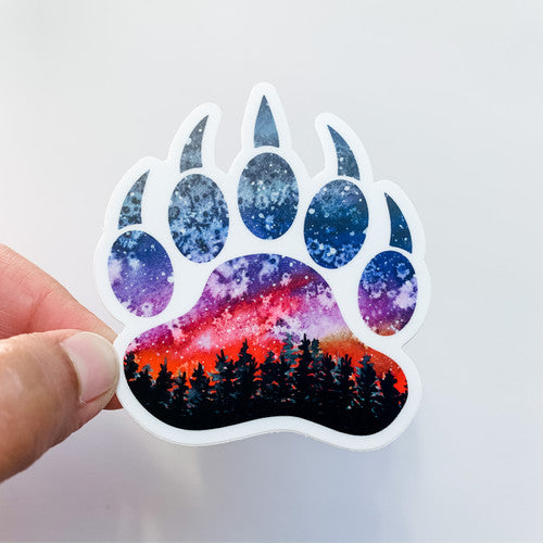 Grizzly Sunset Bear Paw Print Sticker
