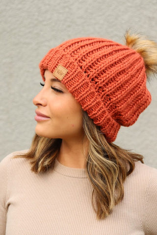 Orange Slouchy Cuffed Lined Pom Beanie