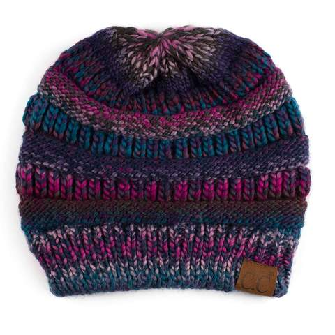 Slouchy Knit CC Beanie - Multi Color Ombre