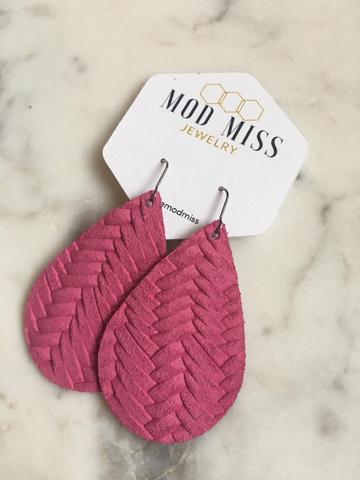 Hot Pink Weaved Leather Teardrop Earrings