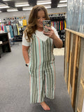 Spring Striped Wood Ring Wide Leg Linen Jumpsuit