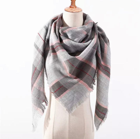 Gray 2tone Pink Plaid Triangle Blanket Scarf