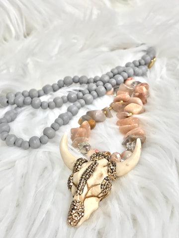 Rhinestone Bull Head Bead Pendant Necklace