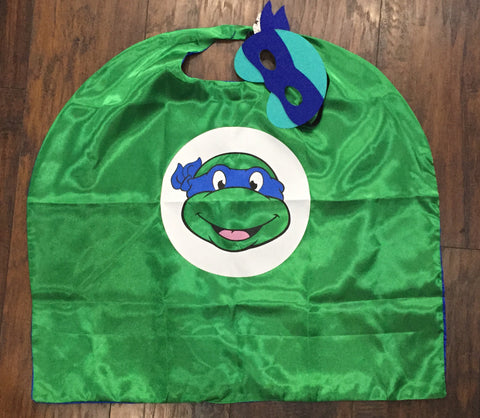 Blue Leonardo Ninja Turtle Mask & Cape Set