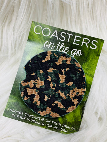 Camo Car Coasters On The Go