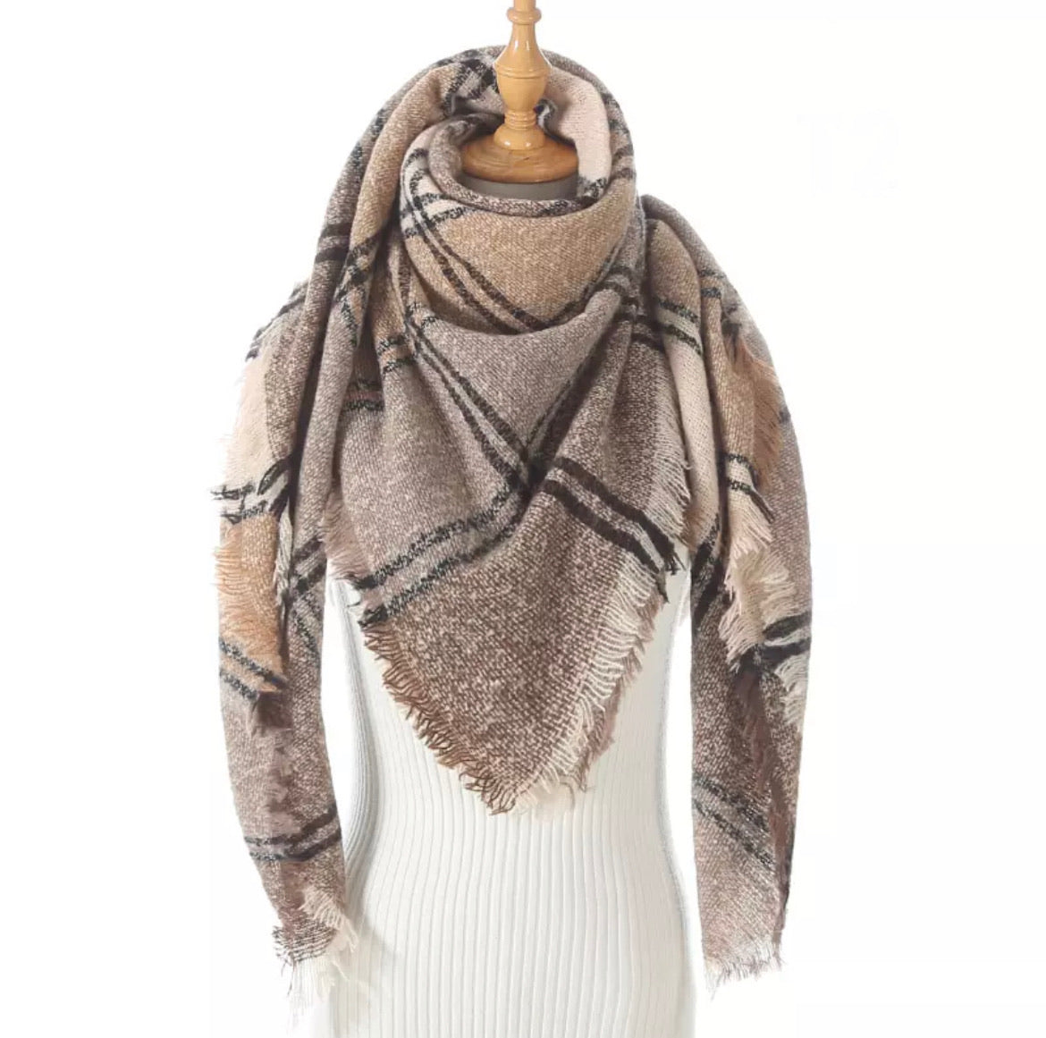 Peach Taupe Brown Plaid Triangle Blanket Scarf