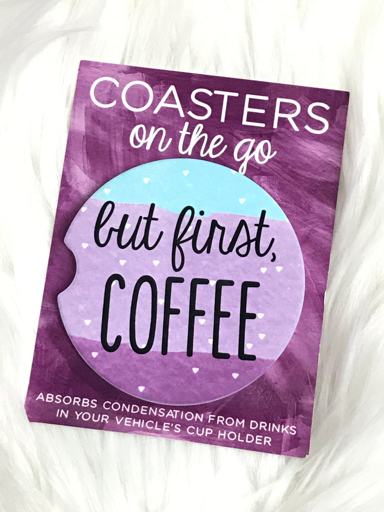 But First Coffee Car Coasters On The Go