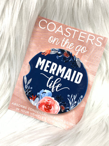 Mermaid Life Blue Car Coasters On The Go