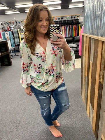 Watercolor Floral Crossover Flutter Sleeve Top