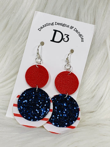 Patriotic Red Striped Blue Glitter Round Layered Dangle Earrings