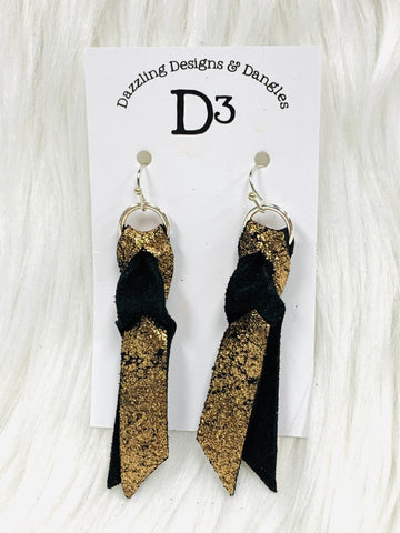 Black Bronze Magic Knot Leather Earrings