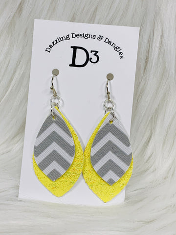 Yellow Shimmer Gray Chevron Layered Dangle Earrings