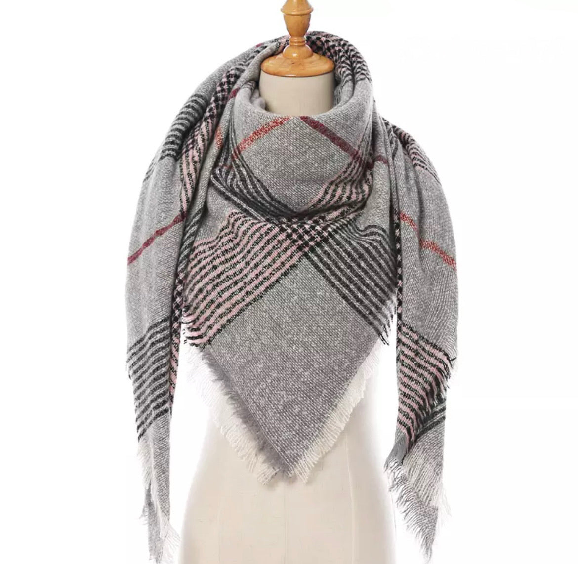 Gray Pink w/Burgundy Plaid Triangle Blanket Scarf
