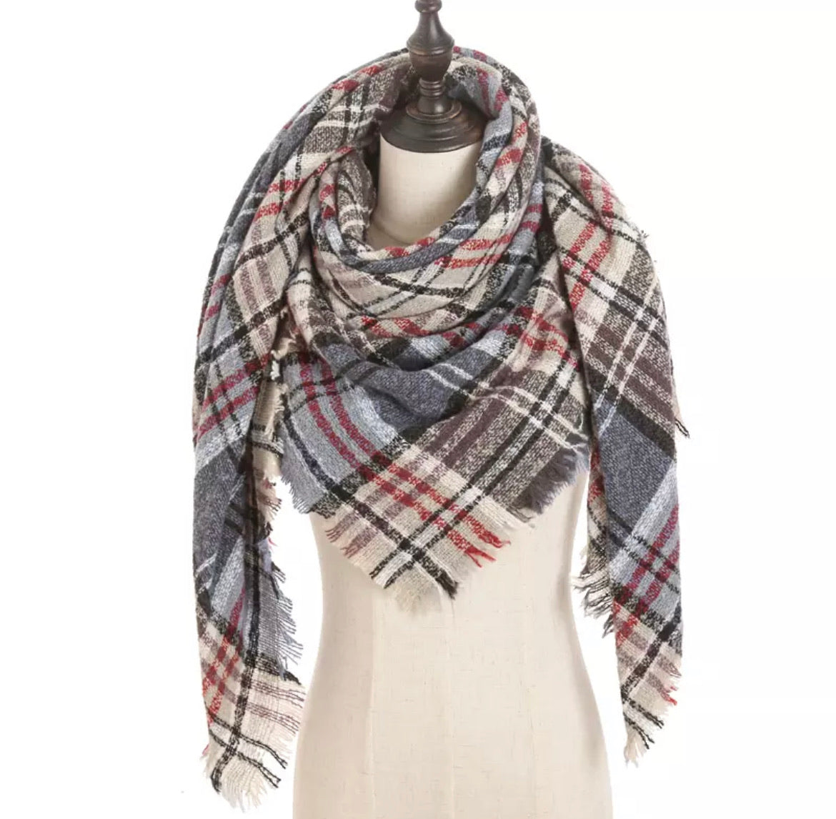 Beige Lt Blue Brick Lavender Plaid Triangle Blanket Scarf