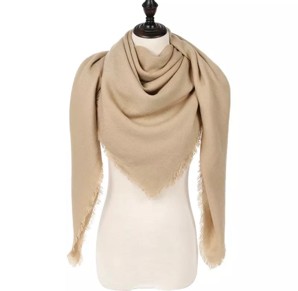 Tan Triangle Blanket Scarf
