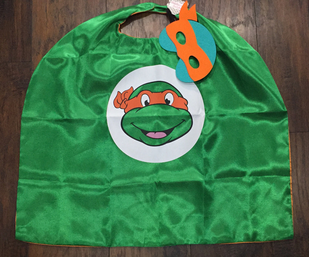 Orange Michaelangelo Ninja Turtle Mask & Cape Set - STB Boutique