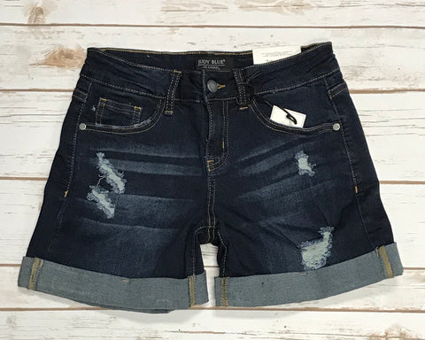 JB Dark Wash Distressed Cuffed Denim Jean Shorts