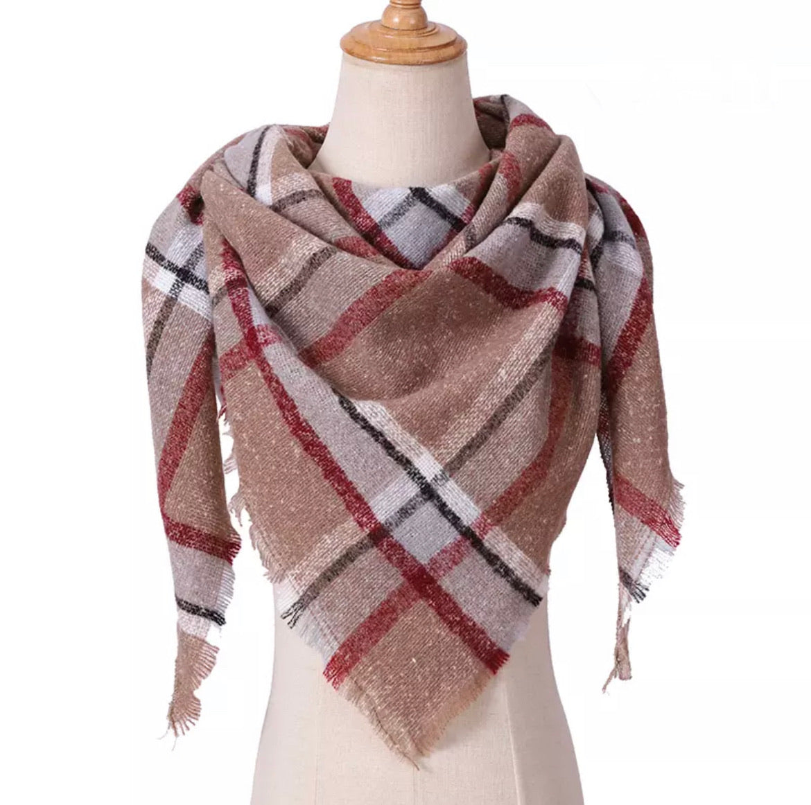 Mocha Burgundy Gray Plaid Triangle Blanket Scarf