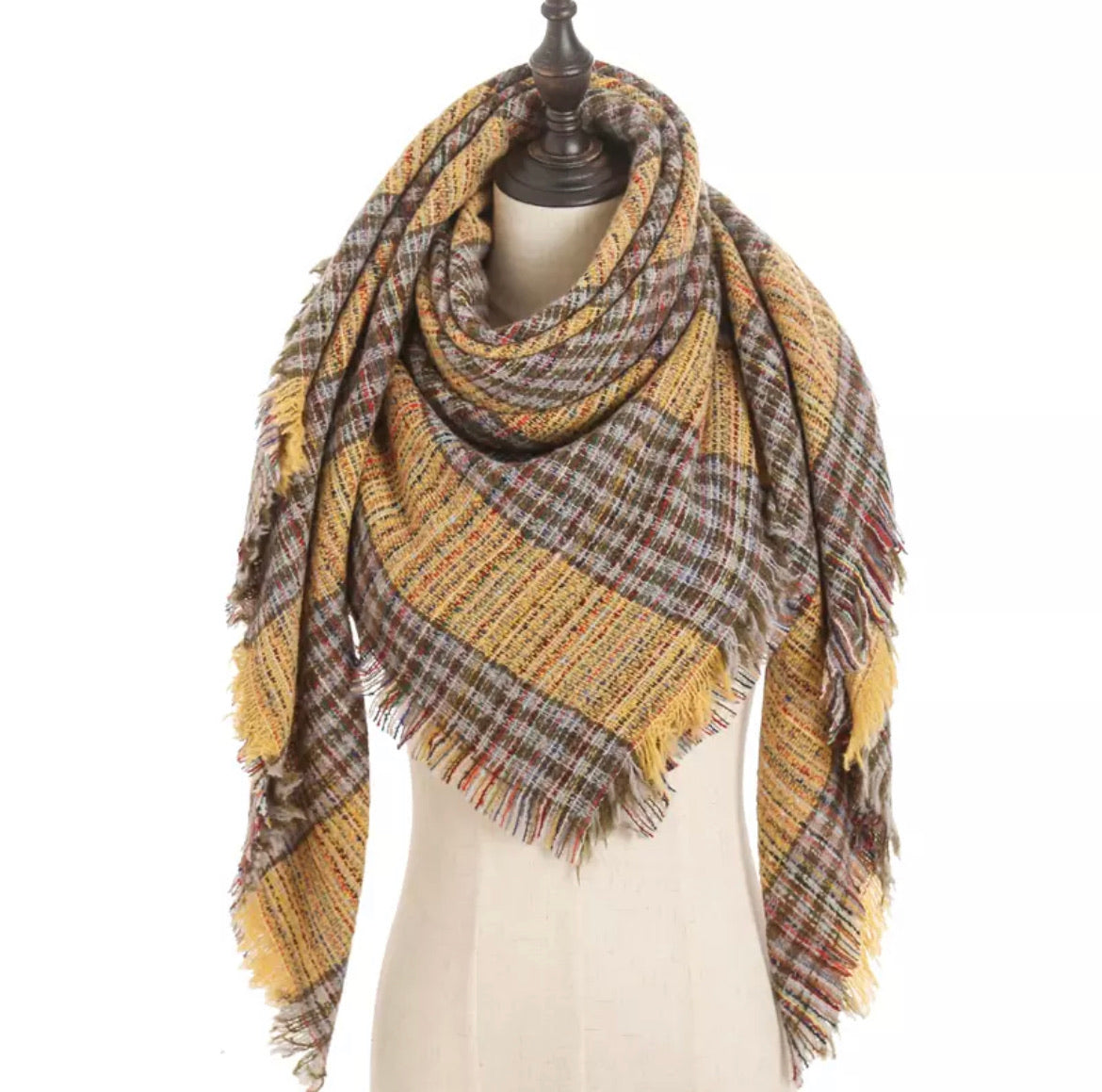 Kaleidoscope Mustard Olive Gray Stripe Plaid Triangle Blanket Scarf