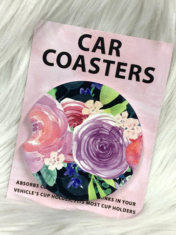 Jewel Tone Florals Car Coasters On The Go