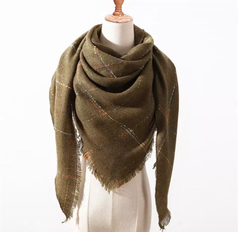 Olive Colored Stitch Triangle Blanket Scarf