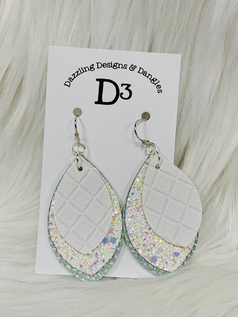 White Mint Pearl Sparkle Layered Dangle Earrings