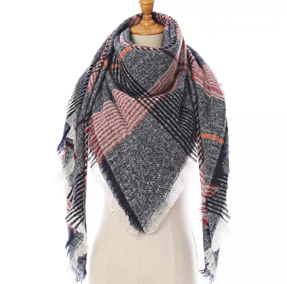 Navy Red w/Orange Plaid Triangle Blanket Scarf