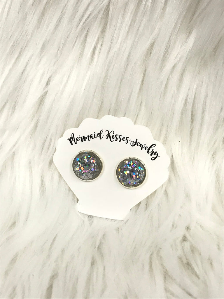 Iridescent Silver Glitter Stud Earrings