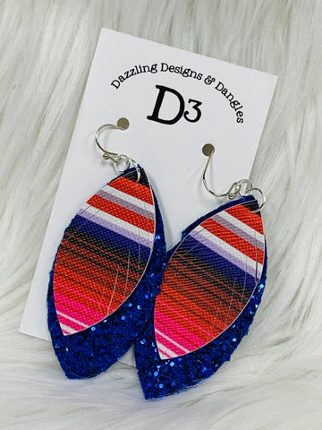 Blue Glitter Serape Layered Dangle Earrings