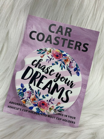 Chase Your Dreams Car Coasters On The Go