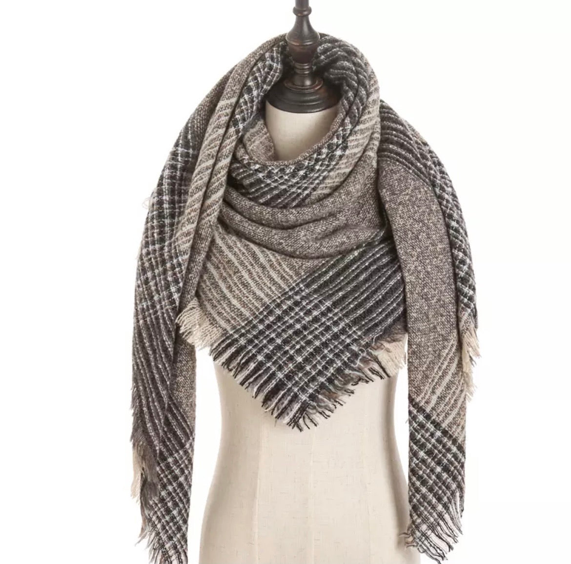 Gray Beige Lt Blue Plaid Triangle Blanket Scarf