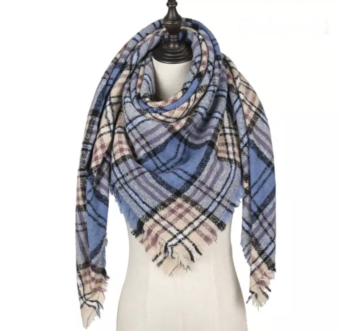Light Blue Beige Lavender Plaid Triangle Blanket Scarf