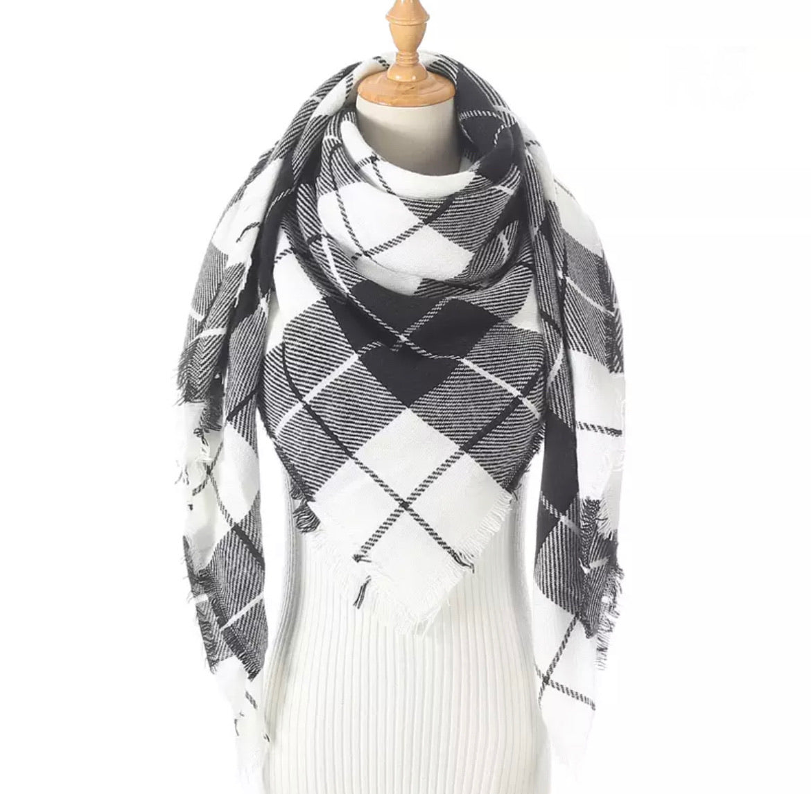 White Black Plaid Triangle Blanket Scarf