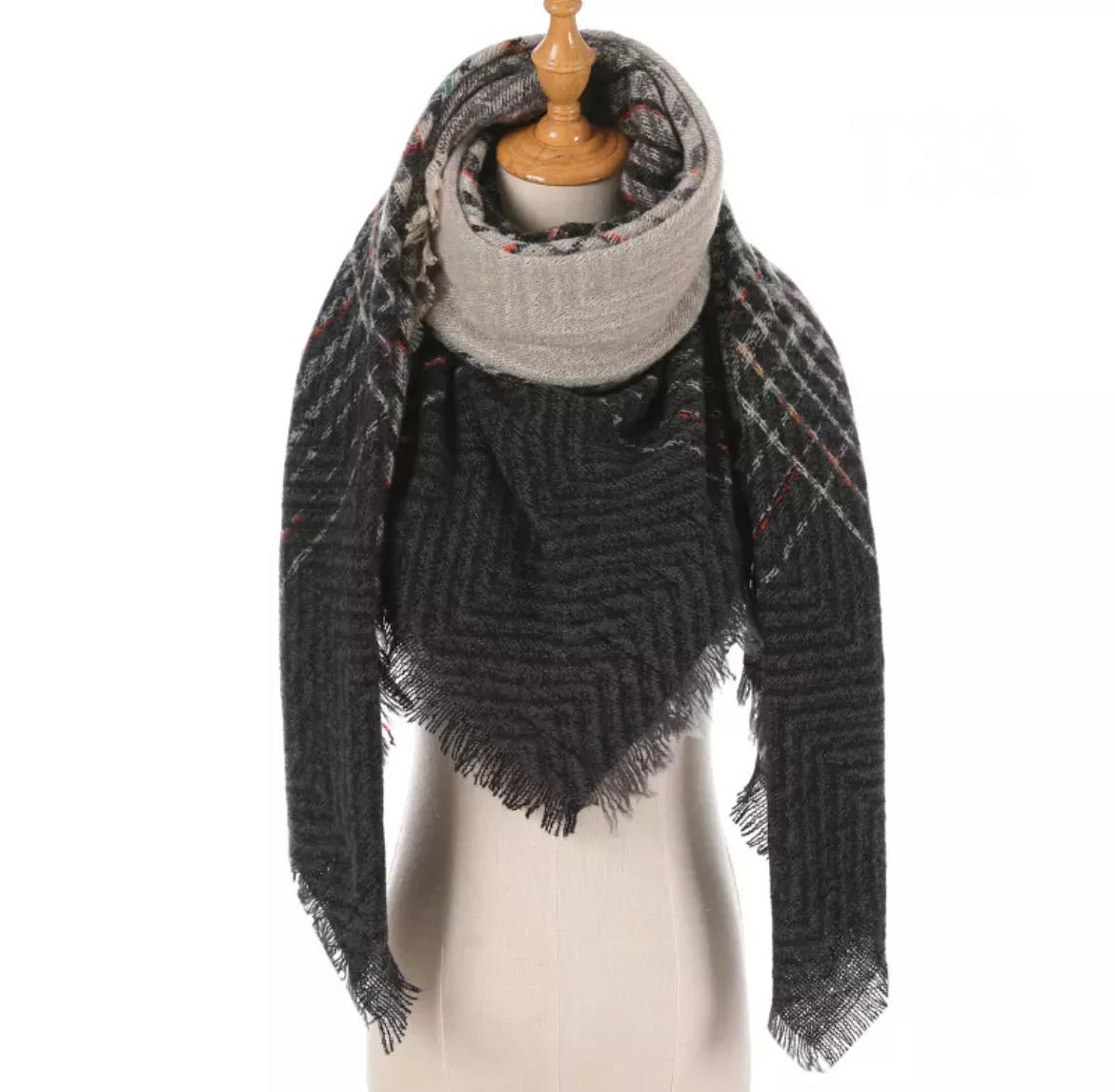Gray Chevron Color Stripe Plaid Triangle Blanket Scarf