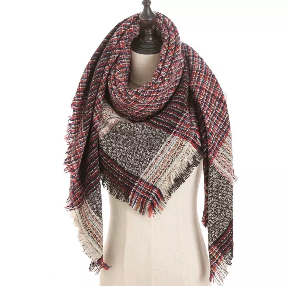 Kaleidoscope Red Navy Beige Plaid Triangle Blanket Scarf