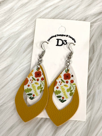Mustard & Floral Layered Dangle Earrings