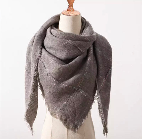 Gray Colored Stitch Triangle Blanket Scarf