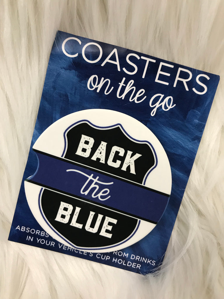 Back The Blue Car Coasters On The Go