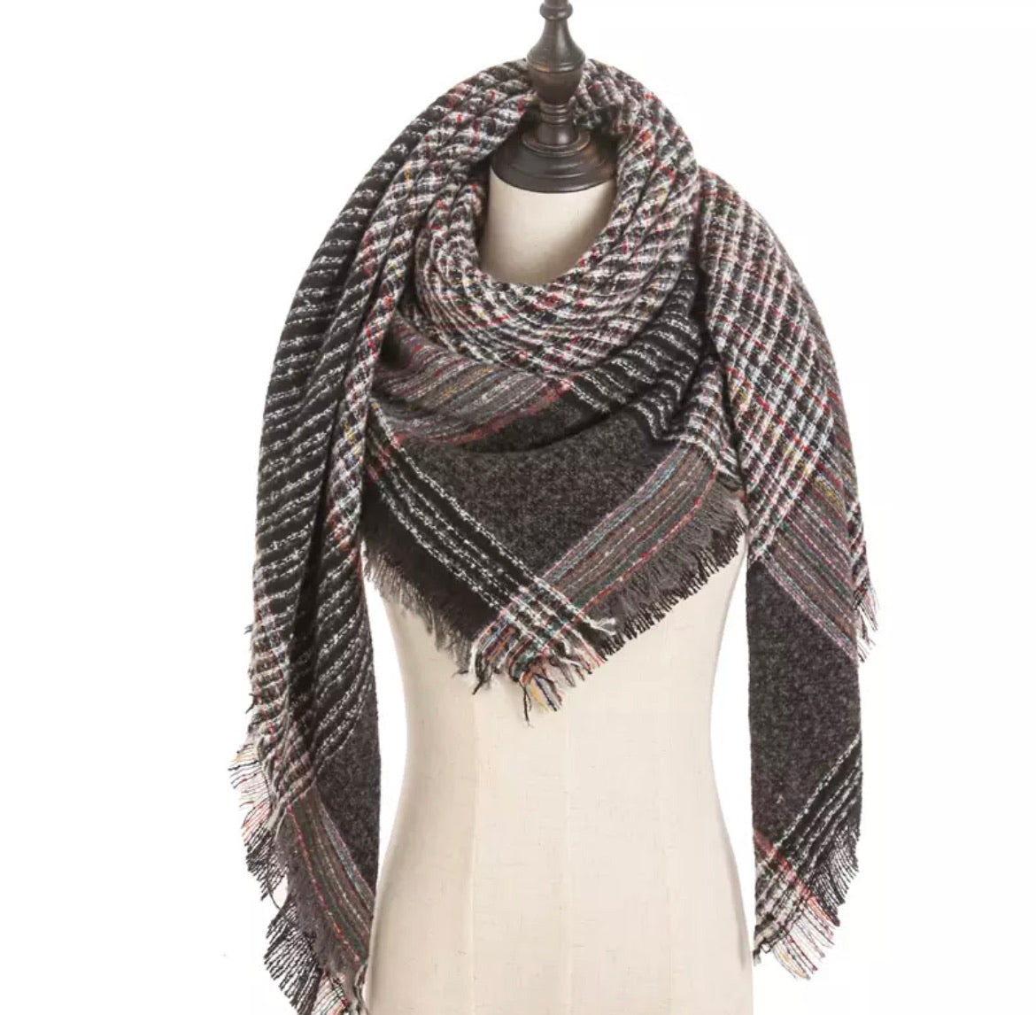 Kaleidoscope Charcoal Plaid Triangle Blanket Scarf