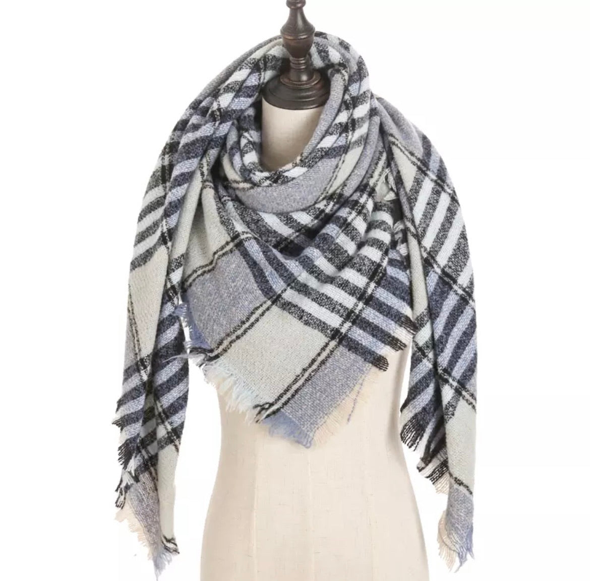 Blue Beige Lt Blue Plaid Triangle Blanket Scarf