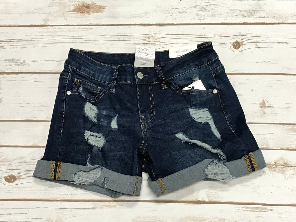 JB Dark Wash Destroyed Cuffed Denim Jean Shorts - SM(4/6)-3X(24/26)