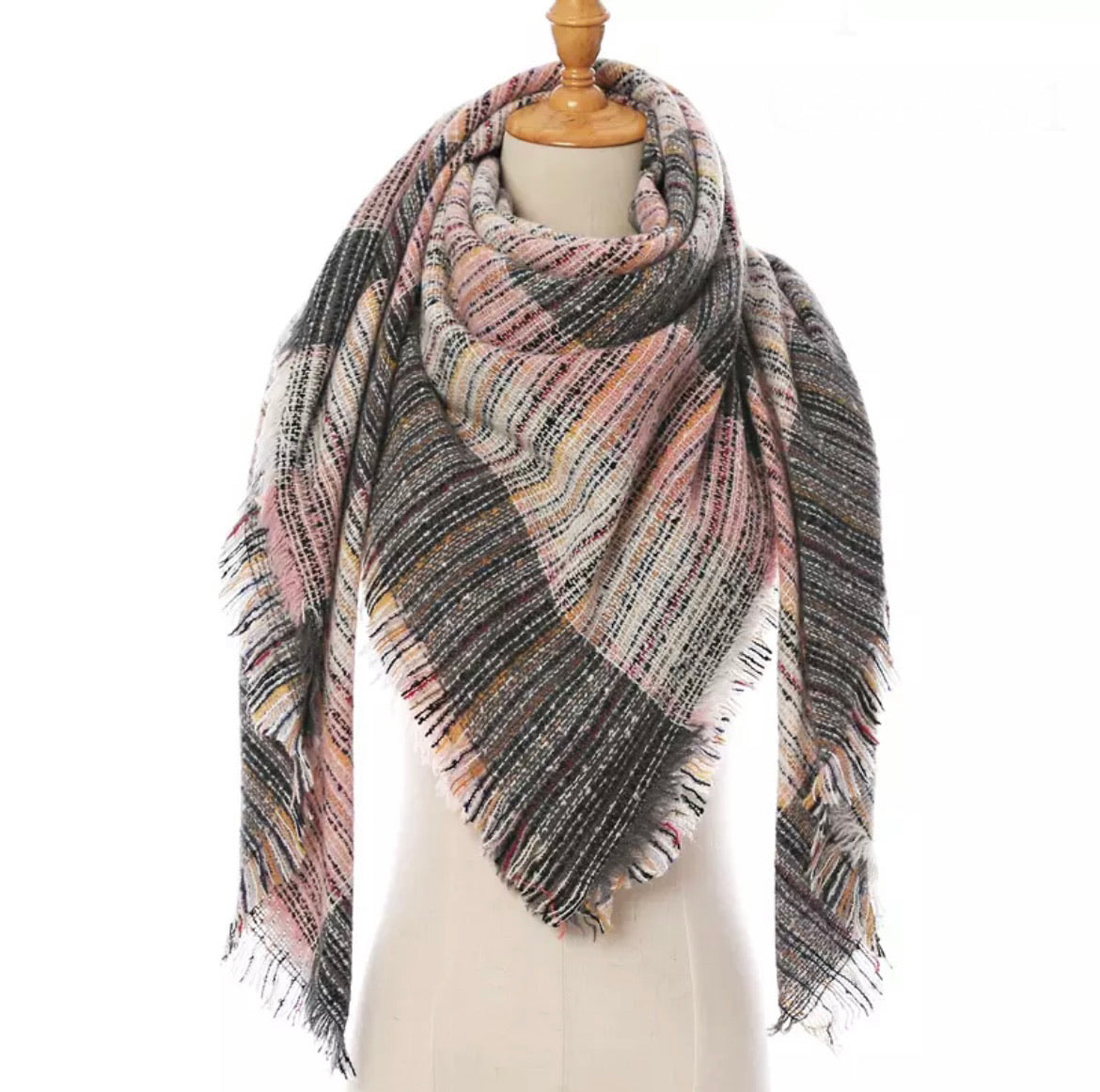 Kaleidoscope Lt Pink Gray White Stripe Plaid Triangle Blanket Scarf